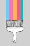 Färgrik tecknad filmmålarpensel med copyspace Royaltyfri Foto