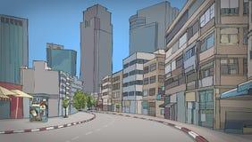 Färgrik teckning av gatan med byggnader Royaltyfri Foto