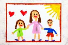 Färgrik teckning: Enkel barnuppfostran Le familjen med modern och hennes två ungar arkivbild