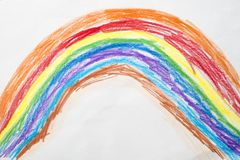 Färgrik teckning för unge` s av en regnbåge arkivbilder