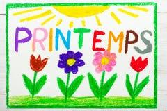 Färgrik teckning: Fransk ordPrintemps vår vektor illustrationer