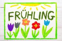 Färgrik teckning: Hling vår för tysk ordFrà ¼ stock illustrationer