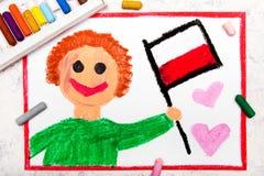 Färgrik teckning: Lycklig flagga för maninnehavpolermedel arkivfoto