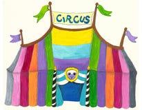 färgrik tent för cirkus royaltyfri illustrationer