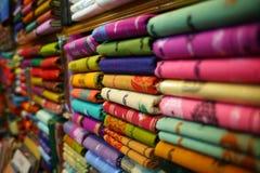 färgrik textil Arkivbilder