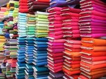 färgrik textil för bakgrund royaltyfria bilder