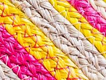 Färgrik textur av vävvassen handcraft Royaltyfri Fotografi