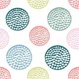 Färgrik texturerad sömlös modell för cirkel stock illustrationer