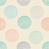 Färgrik texturerad sömlös modell för cirkel, blått, rosa färger, apelsin, rund grungeprick för beiga, inpackningspapper vektor illustrationer