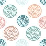 Färgrik texturerad sömlös modell för cirkel, blått, rosa färger, apelsin, rund grungeprick för gräsplan royaltyfri illustrationer