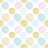 Färgrik texturerad sömlös modell för cirkel, blått, rosa färger, rund grungeprick för guling stock illustrationer