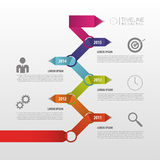 Färgrik Timeline Infographic mall vektor vektor illustrationer