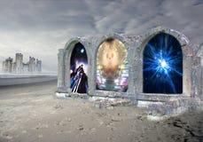Färgrik tolkning som 3d elektrifierar porten som leder till ett annat mått royaltyfri illustrationer
