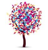 Färgrik trädvektordesign Arkivfoton