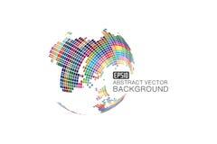 Färgrik tredimensionell sfärisk översikt av världen, abstrakt vektorbakgrund Arkivfoto