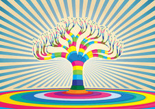 Färgrik treedesign vektor illustrationer