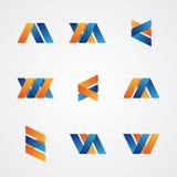 Färgrik uppsättning av abstrakta idérika logoer Arkivfoto