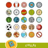 Färgrik uppsättning av cirkelformobjekt Visuell ordbok stock illustrationer