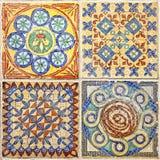 Färgrik uppsättning av dekorativa tegelplattor Fotografering för Bildbyråer
