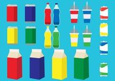 Färgrik uppsättning av drycken royaltyfri illustrationer