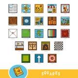 Färgrik uppsättning av fyrkantiga formobjekt Visuell ordbok stock illustrationer