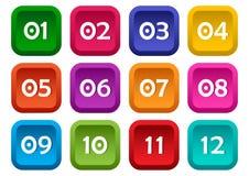 Färgrik uppsättning av fyrkantiga knappar med nummer från 01 till 12 vektor royaltyfri illustrationer