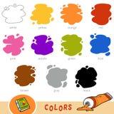 Färgrik uppsättning av grundläggande färger Visuell ordbok för barn vektor illustrationer