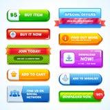 Färgrik uppsättning av knappar för website eller app Vektor Illustrationer