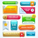 Färgrik uppsättning av knappar för website eller app Stock Illustrationer