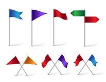Färgrik uppsättning av läge- och destinationsflaggasymboler royaltyfri illustrationer