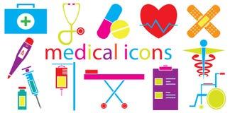 Färgrik uppsättning av medicinska den isolerade symbolsvektorn Royaltyfria Foton