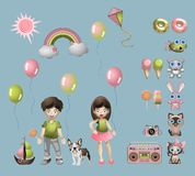 Färgrik uppsättning av objekt från ett liv för barn` s Samling av olika beståndsdelar för tecknad filmunge` s vektor illustrationer