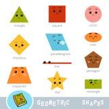 Färgrik uppsättning av olika geometriska former Visuell ordbok stock illustrationer