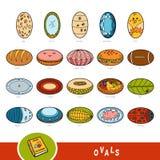 Färgrik uppsättning av ovala formobjekt Visuell ordbok stock illustrationer