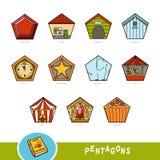 Färgrik uppsättning av pentagonformobjekt Visuell ordbok stock illustrationer