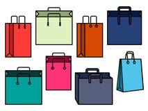 Färgrik uppsättning av shoppingpåsar stock illustrationer