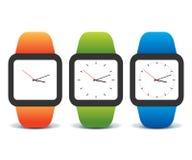 Färgrik uppsättning av smarta klockor Fotografering för Bildbyråer