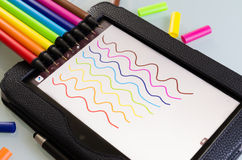 Färgrik uppsättning av tillverkare med squiggly linjer Royaltyfri Fotografi