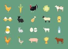 Färgrik uppsättning av vektorlantgårddjur och jordbruksprodukter Arkivfoto