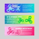 Färgrik uppsättning för baner för spinnare för lutningvektorrastlös människa med typografi Ljust remsor för webbplatser och on-li Fotografering för Bildbyråer