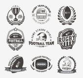 Färgrik uppsättning för rugbylogovektor, mall för fotbollemblemlogo Arkivbilder