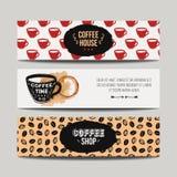 Färgrik uppsättning för vektor av moderna baner med kaffebakgrunder Royaltyfri Bild