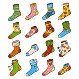 Färgrik uppsättning för vektor av sockor med prydnader royaltyfri illustrationer