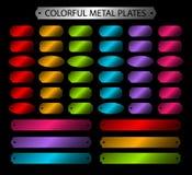 Färgrik uppsättning för vektor för metallplattor Fotografering för Bildbyråer