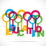 Färgrik utbildning uttrycker nyckel- vektor illustrationer