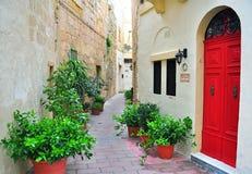 Färgrik uteplats i Malta royaltyfria bilder
