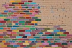 färgrik vägg för tegelsten Royaltyfria Bilder