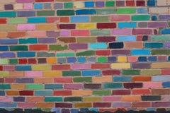 färgrik vägg för tegelsten Royaltyfri Bild