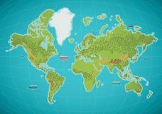 färgrik värld för illustrationöversiktsvektor Arkivbilder