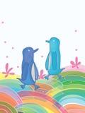 Färgrik värld för pingvin royaltyfri illustrationer